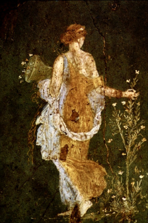 artemisdreaming:  Flora Picking Flowers by the Sea Fresco found in the ruins of Pompeii, Italy.Image courtesy of Corel Corporation.