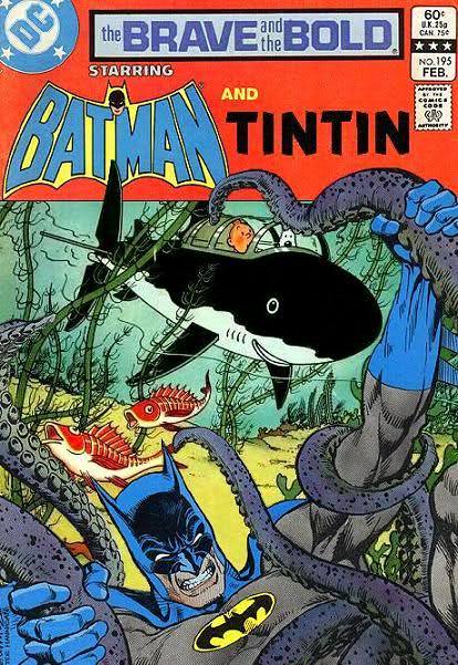 randomfives:  Batman and Tintin - team-up! From:  http://braveandboldlost.blogspot.com/2010/10/tintin.html