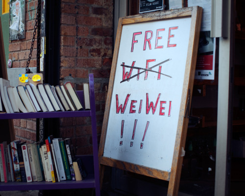 border-studies:  Free Wifi turned Free Weiwei sign in Brooklyn… (via Scene in Brooklyn | MRod: Your Internet Concierge)