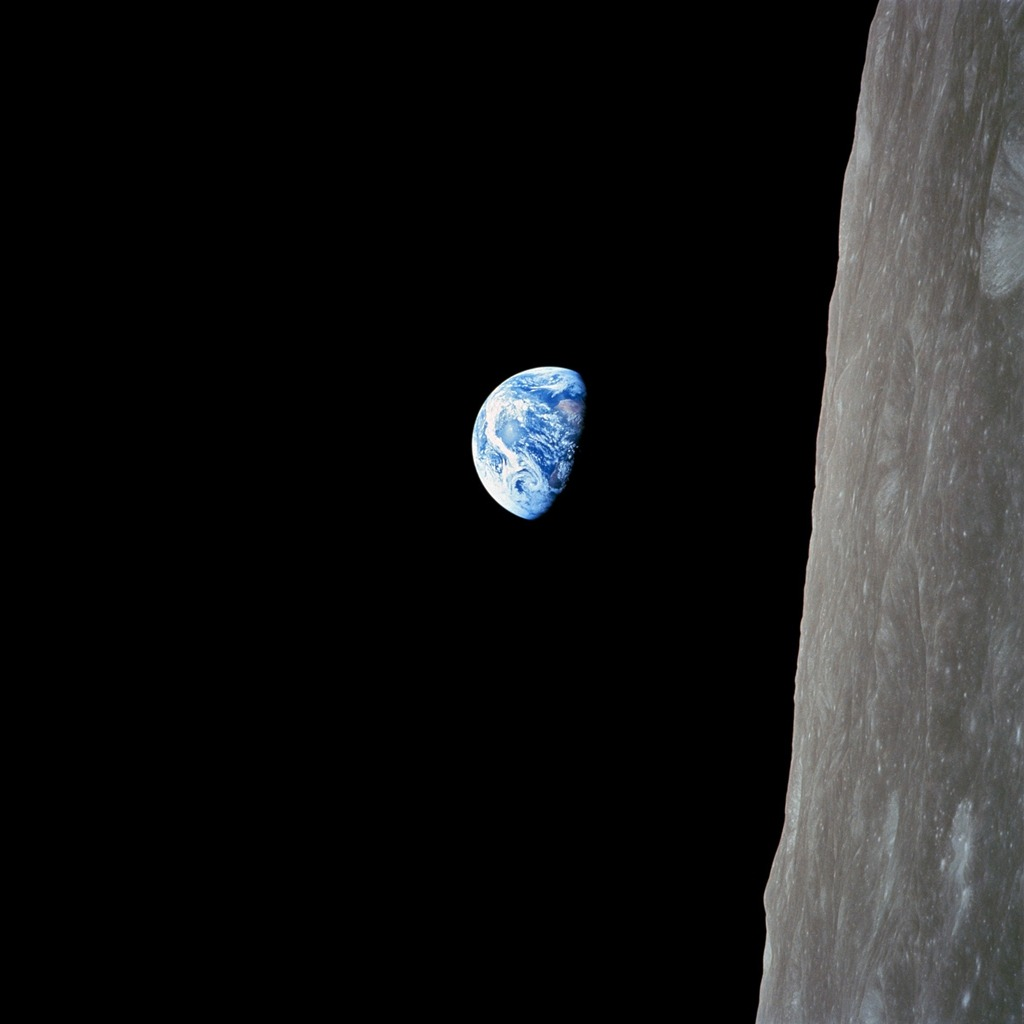 "dreammeup:  William Anders/NASA ""Earthrise"" Apollo 8 looking back at Earth, the Moon below, on December 24, 1968"