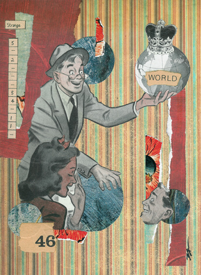 'It's OK to Indulge in the Absurd' - Collage on Mat Board 2011 http://www.society6.com/studio/hoopandstick/store In the past two days, I suddenly gained about 200 new followers. I'm flabbergasted! Thanks to whoever has been plugging and reblogging me, and a huge thank you to all you new guys! Hope yall dig my shit!