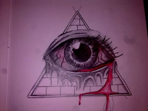 this is the all seeing eye i'm getting tattoo'd. all that's left to draw on it is the sun and clouds etc. i love my best friend, she's a great artist :)