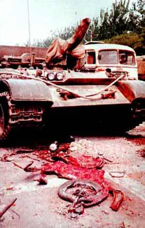 Victim of the Tiananmen Square Massacre. This man was run over with a tank.