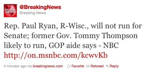 Paul Ryan not running in Wisconsin: Guess we timed our last post somewhat poorly. We think he's making a mistake by not trying for higher office.