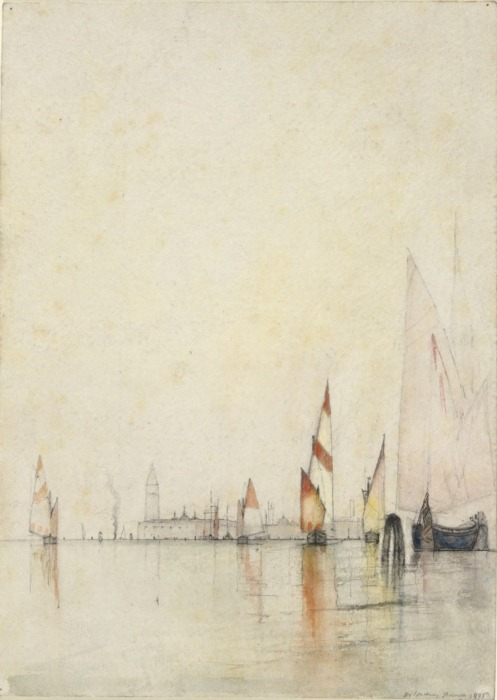 Boats on the Lagoon, VeniceWilliam Gedney Bunce, 1893Watercolor, pen and black ink, black chalk