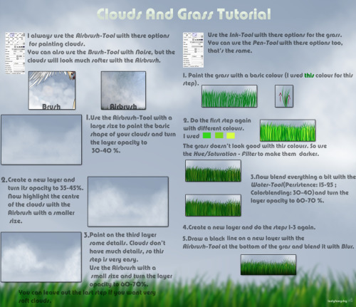 How I paint clouds and grass with Paint Tool Sai.