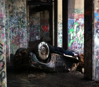 Planking on a dredged up car from the Delaware River….I think I need a tetanus shot.