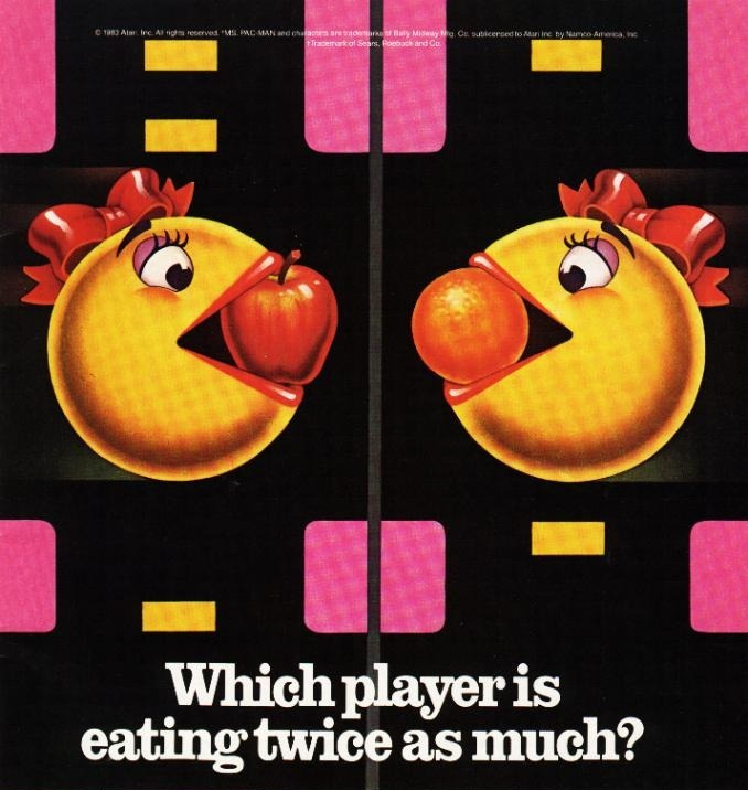 Is this ad saying that Ms. Pac-Man looks fat?