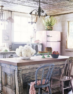 Shabby chic kitchen… love the embossed tin ceiling! (via All Things Lovely: Be my guest!)