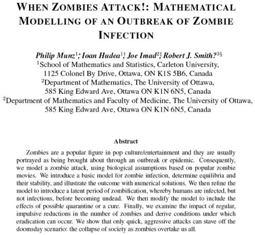 Mathematical modeling of an outbreak of a Zombie invasion