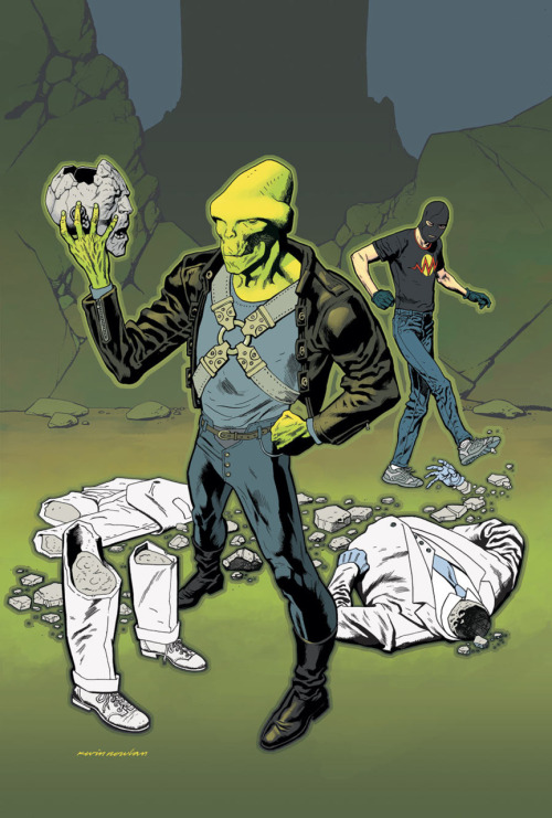 The Outsider loses to the Martian Manhunter and Blackout on the cover to Flashpoint: The Outsider #3 from DC.