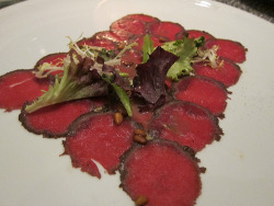 Venison Carpaccio- Drago Centro. Wrote about my fave autumn meal at DC and just wrote about my fave Spring meal (so far) but never did post my absolute favorite thing from the winter menu- the venison carpaccio!