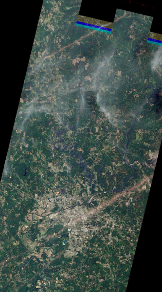 Satellite photo of the tornado track in Alabama. That's an outrageous damage path! Courtesy of NASA Earth Observatory.
