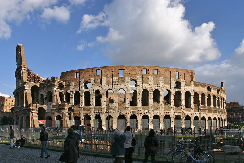 The Amphitheatrum Flavium, better known as Colosseum, which becomes a church once in a year: every Good Friday evening the Pope celebrates a Way of the Cross procession, remembering the many people who died a horrible death in this arena.