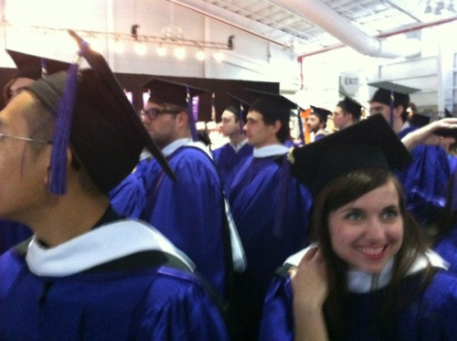 newsweek:  buzzfeed:  An exclusive photo of James Franco at his NYU graduation, which is happening a little uptown from the BuzzFeed offices (at Yankee Stadium) right now. [Exclusive! James Franco Graduated]  Someone's very excited to sneakily get their picture with James Franco, youuuuuuu.  Only 2,348 more degrees to go.