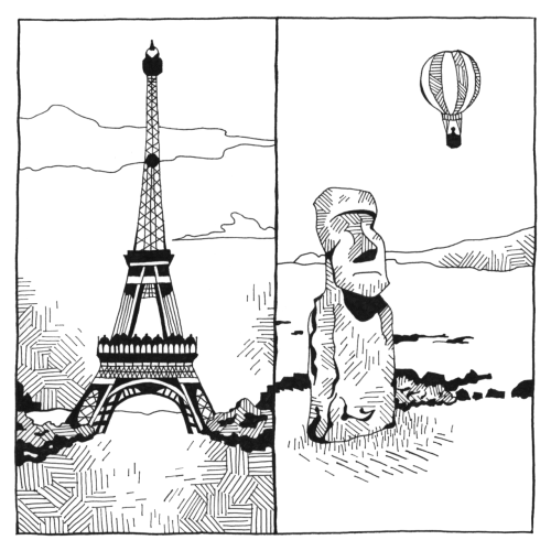 A page from Hugo as he travels around the world in a hot-air balloon. From Paris to the Easter Islands! See other pages from this story.