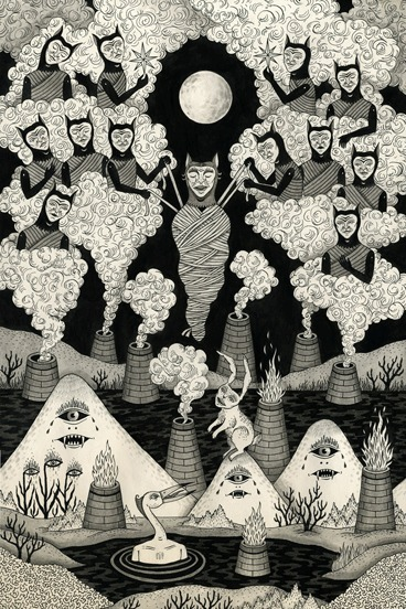 "divinaalion:  ""The Mountain Wept for Her Inkon Paper"" by Jon MacNair"