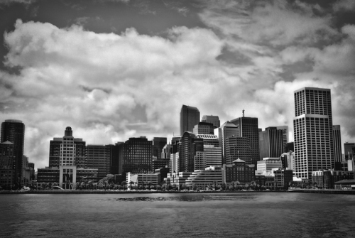 sometimeswemeanit:  Oakland skyline (Taken from the ferry to San Francisco).