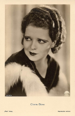 clarabowarchive:  Clara Bow in fur, vintage postcard. No Limit, 1931.