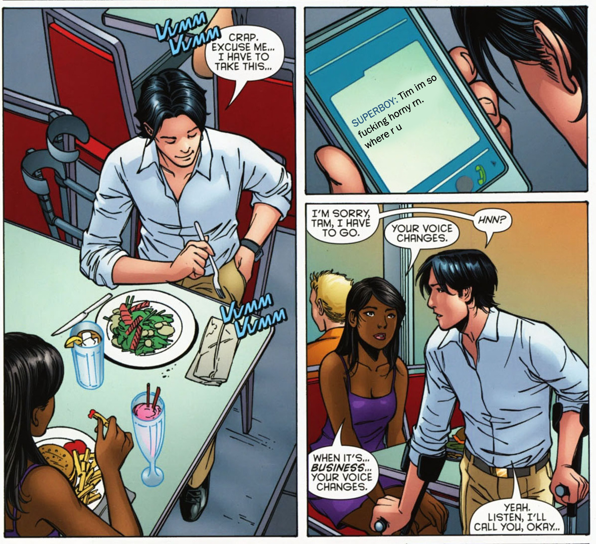 batmobiles:  plathgirl:  koncubine:  WHOOPS SORRY TAM. KON IS SEXTING HIM. HE HAS TO GO TO HIS ~FRIEND~ IN NEED.  SAVING THE WORLD, ONE BJ AT A TIME. UGH THIS IS PERFECT I LOVE YOU  BUSINESS VOICE  And you know when i'm down to just my socks What time it is It's business it's business time