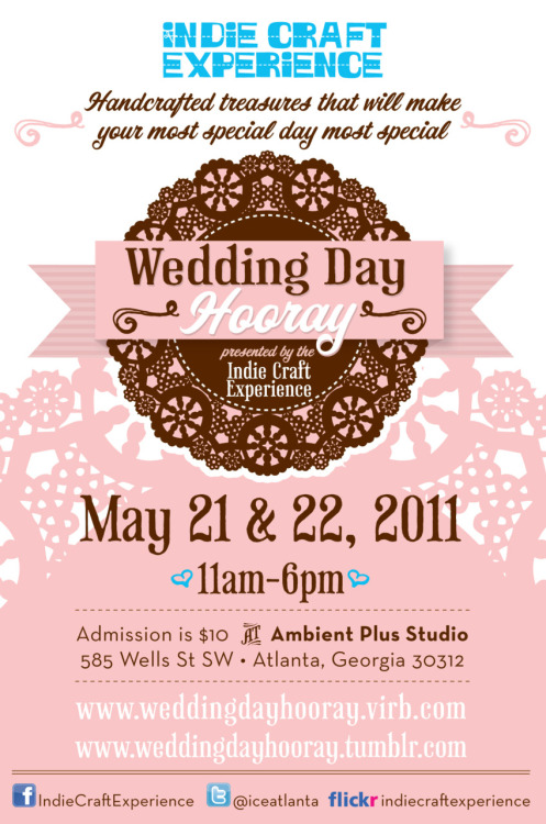 If you're in the Atlanta area and love handmade (wedding or not, you'll surely have a celebration of love at some point!) come out this weekend to Ambient Plus Studio for an awesome new show from Indie Craft Experience, Wedding Day Hooray.  Lots of crafty vendors for purchases and inspiration!  I'll be hanging some handmade fabric banners there — tell ya friends!!! weddingdayhooray:  Check out this great write-up about Wedding Day Hooray from Occasions magazine! Atlanta  Bridal Show:  Wedding Day Hooray