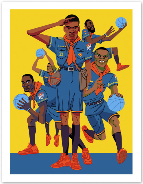 nbaoffseason:  bethlehemshoals:  THUNDER ART FROM GQ STORY NOW AVAILABLE IN PRINT FORM!  SWEET BABY JESUS! SO AWESOME!