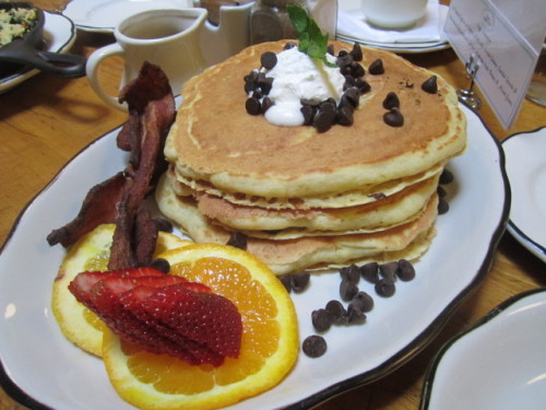 Buttermilk Pancakes with Valhrona Chocolate Chips from tbsp I admit, sometimes my eyes are bigger than my stomach.  When I'm out at brunch I want something savory like eggs and bacon, but I also crave pancakes.  I often can't decide on just one thing.  I convinced my friend Matt to share an order of pancakes with me, but in usual cases, we're often stuffed before we even tackle them. However, tbsp's chocolate pancakes are too good to pass up. The pancakes are light an fluffy and the chocolate chips melt while on the warm pancakes, creating a gooey chocolate sauce.  In my opinion, there is no need for syrup. Mmm, so good! tbsp, 17 W 20th Street (btw 5th and 6th Aveunues)