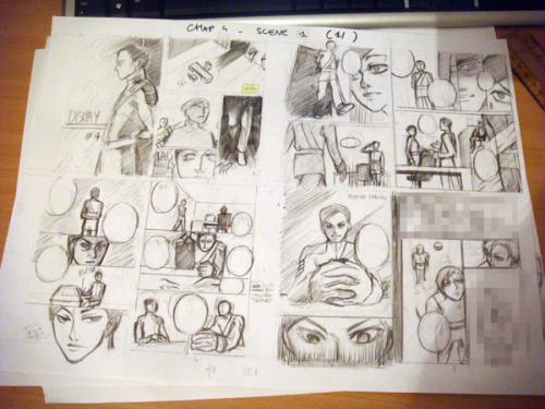 "Before/after with the latest pic, where I turned the remaining storyboards into ""sketches"". If it could work that way it would be awesome. And I'm so proud, there was almost no corrections to be made on the storyboard this time ! :'D (Well, just one hour instead of three) My efforts are paying <3"