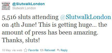 "[image: Twitter screencap from @SlutwalkLondon: ""5,516 sluts attending @SlutwalkLondon on 4th June! This is getting huge… the amount of press has been amazing. Thanks, sluts!""]. Okay now this is prettyyyy problematic. I assumed that Slutwalk was about fighting rape culture and removing the stigma of sexual promiscuity (or anything else that results in the slur). I was going to lend my support for sex-positivity as an asexual person, despite the recent controversies over race and trans* erasure. But the idea of calling everyone who attends a hardly reclaimed slur is deeply problematic. The march is open to all, and not everyone is a self-identified 'slut'. Rape survivors who want to attend in protest of rape culture may not wish to be called 'slut' by the organisers. This tweet is not only inaccurate, for a march that includes unaffected allies, but offensive to the people who do not wish to reclaim the word."