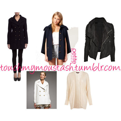 Polyvore set - sorry for how fugly this one is, I was just in a big rush to mash things together. This is just a list of jackets and stuff I've been lusting over, and I most likely will buy the first 2 soon:  Bardot Double Breasted Military Coat ASOS Spring Cape in Navy Black leather jacket - this one is from net-a-porter therefore costs a small country to afford it but you get the jist A cream trench/jacket of some sort. This one is kinda fugly but like I said I was in a big rush and you get the jist..again Some sort of big lazy cardigan