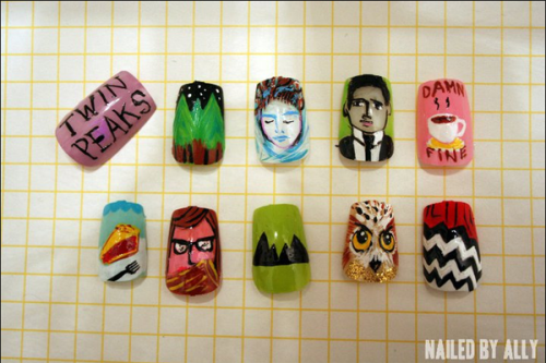 In our continuing series of highly artistic nail art, here's some amazing nails based off Twin Peaks.