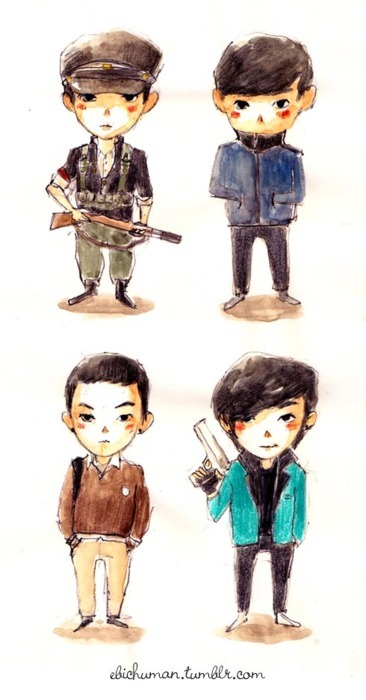 ebichuman:  Oh Jung Bum, Kim Jootop (xD), Chae Moo Shin, Vick…the one and only Choi Seung Hyun :)
