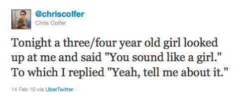 gleehiatussurvivor:  colferquotes:  Chris' tweet about the little girl he mentioned in his Lopez Tonight interivew.  This will always be funny