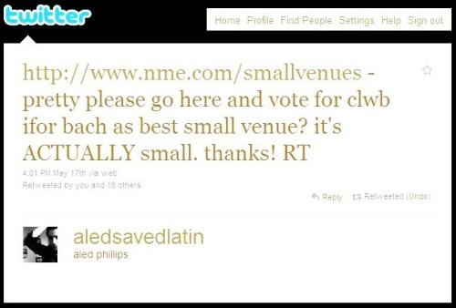 what Aled said. because Clwb is awesome! here's the link: http://www.nme.com/smallvenues