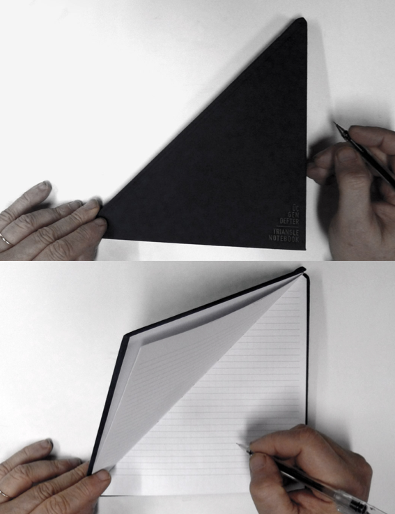 szymon:  triangle notebook from Tan Mavitan  HOOO my god. It's a triangle… and a notebook. I'm pretty sure the only thing cooler than this would be a triangle notebook with triangular grid paper.