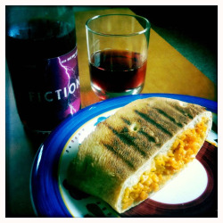 Grilled Mac n' cheese ciabatta and Fiction rosé. BOOOM!