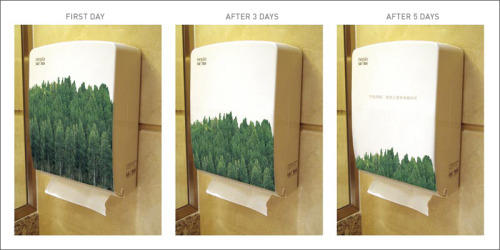 """This paper towel holder was used for the Save the Trees awareness campaign (Shanghai). They changed the covers on these holders every other day to show the damage begin done to trees by using paper towels.""  via  Fabulous Pictures"
