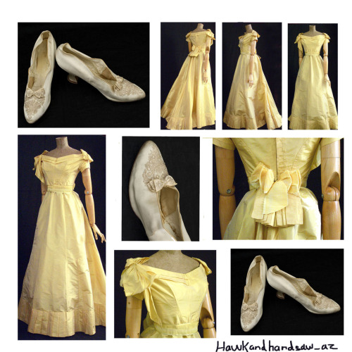 hawkandhandsaw-az:  Beautiful Victorian Gown of the Week: Silk taffeta ballgown (1870) and beaded satin shoes. (1890)  Sweet Jesus, those shoes… I want them…