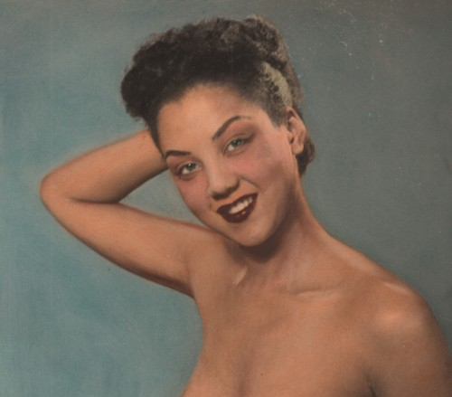From Black Pinups #6 The Untold StoryAfro-Antics on Vintage Sleaze the Blog HERE The Story of Cass Carr, Pioneer of Inter-racial Nude Photography, Bettie Page and Women of Color.