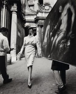 WILLIAM KLEIN Simone and Coffee and Painting, Rome, 1962