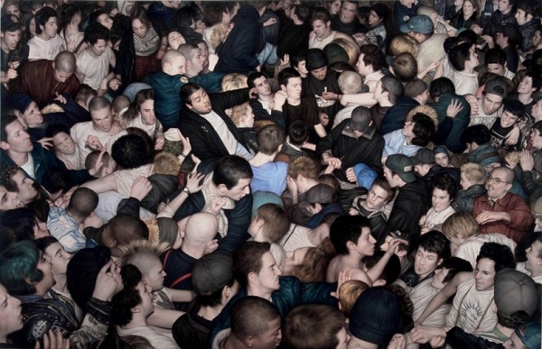 Always a classic, Dan Witz Big Mosh Pit painting - 2007 - Oil and Mixed Media On Canvas 46 in. x 70 in.