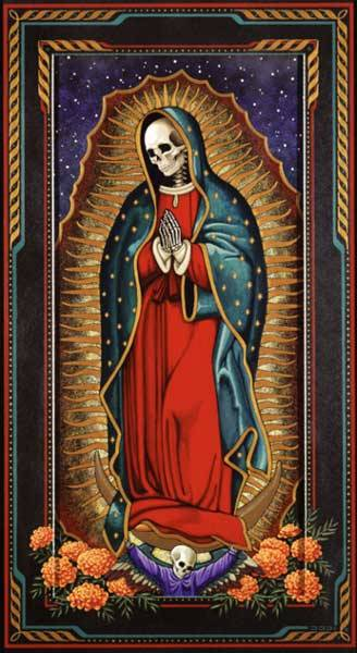 """Santa Muerte"" Her sister, Tonotsin, is venerated as the Virgin of Guadalupe."