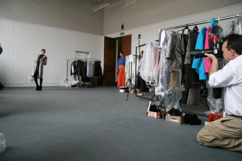 Graduate Fashion Week Programme Photoshoot (May 2011) Doeskin wool coat with suede inserts, worn with black cotton shirt.
