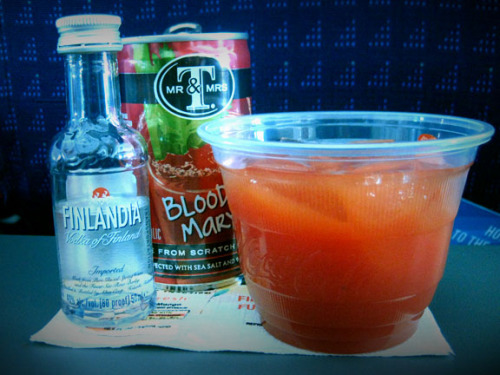 Crazy enough, this is my favorite prepared bloody mary mix. I only enjoy it when flying which makes it seem like a treat. Photo credit: Lush Lady