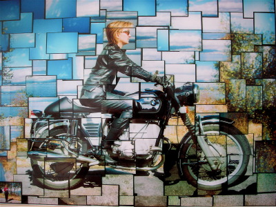 The lovely Jess on her '72 BMW R75/5 cafe roadster.  Photo collage by Volker Helmuth, just up the road in Vancouver, B.C., is a tribute to the great British collage photographer David Hockney.  (Submission by Volker Helmuth) Jess is Volker's wife, and yes she rides!