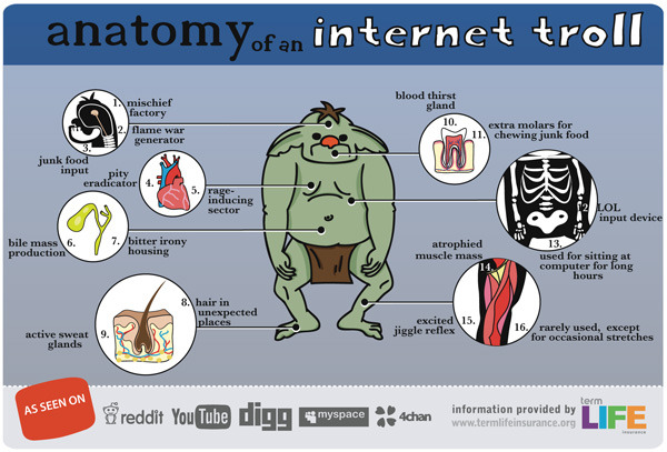 Anatomy of an Internet Troll Mildly poignant. Perhaps a worn-out, over-circulated meme. It's new to us - a stumble-upon discovered in pursuit of material for a new article. Looks like the sources credit themselves.