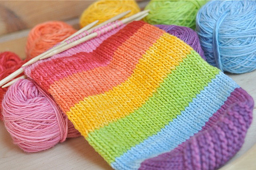 missviciouslovestoknit:  wip wednesday :: rainbow felted water bottle carrier (by waldorf mama)