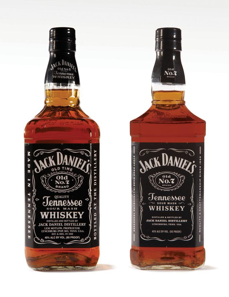 The new bottle, at right, for Jack Daniel's Old No. 7 Tennessee Whiskey