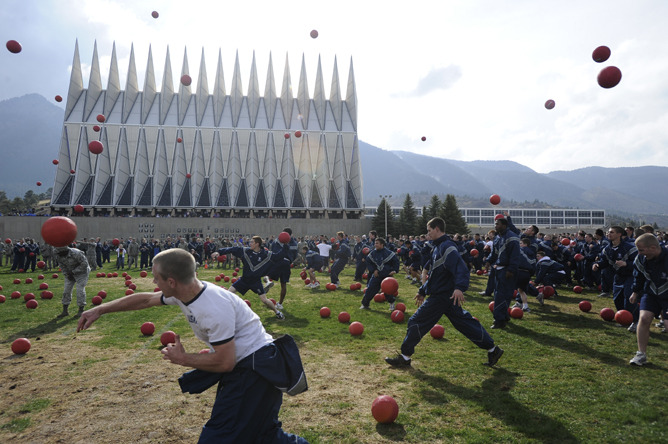 There were 3,623 AFA Cadets using 1,050 red balls who participated in an  attempt to break the Guinness World Record for the largest dodgeball  game ever played. The entire cadet wing – nearly 4000 cadets with 2000  per side - attempted to break the record set by University of Alberta  in early 2011 with just over 2000 players. (Photo by John Leyba, The Denver Post)