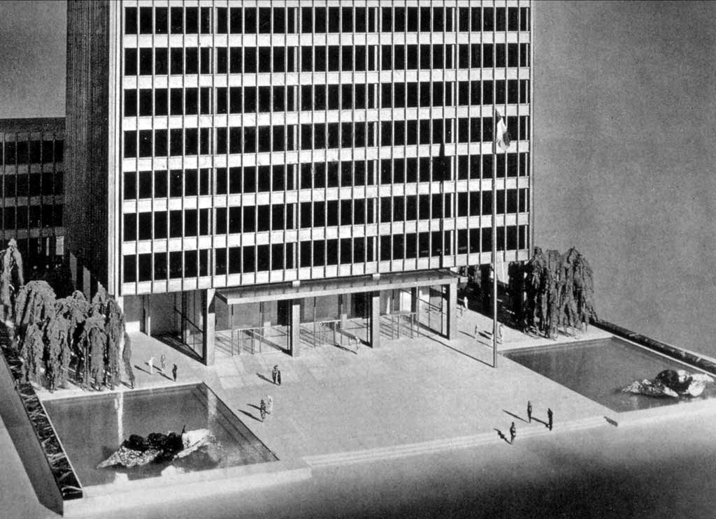 Mies Van Der Rohe and Johnson's model for the Seagram Building in 1956, New York